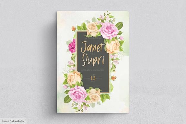 Karta ślubna z miękkimi różami