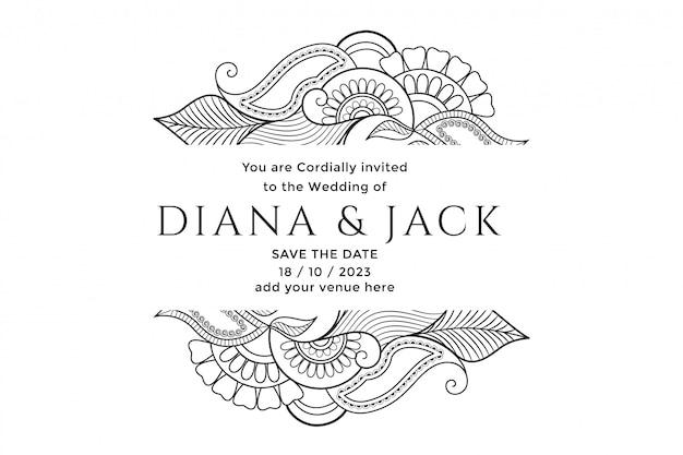 Karta ślubna z motywem kwiatowym mehndi