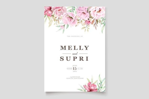 Karta ślubna z pięknym kwiatowym akwarelą