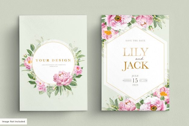 Karta ślubna z pięknym kwiatowym i liśćmi