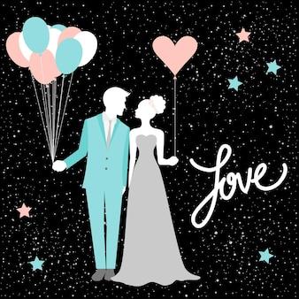 Karta ślubna z sylwetką panny młodej i pana młodego. romantyczny wystrój weselny na kartę, zaproszenie, plakat, baner, menu, afisz, billboard, tapetę, album, notatnik, projekt koszulki itp. okładka