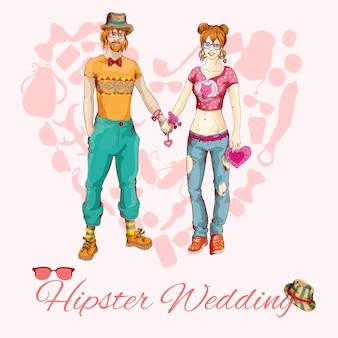 Karta ślubu hipster