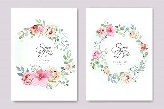 Karta ślubu i zaproszenia z eleganckim szablonem kwiatów i liści