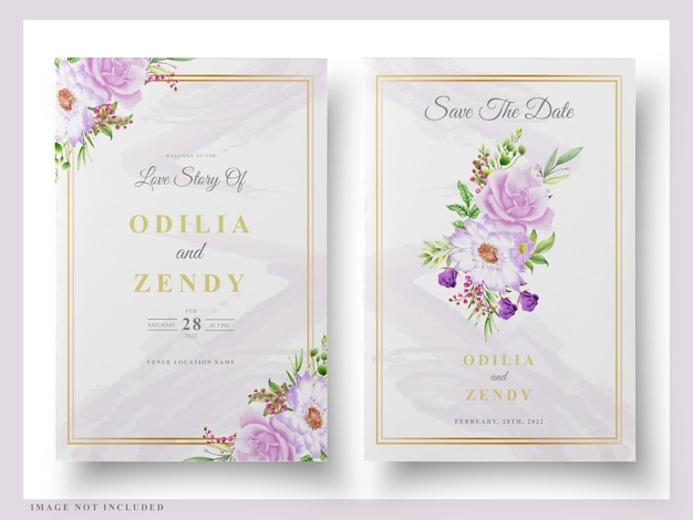Karta ślubu kwiatowy akwarela