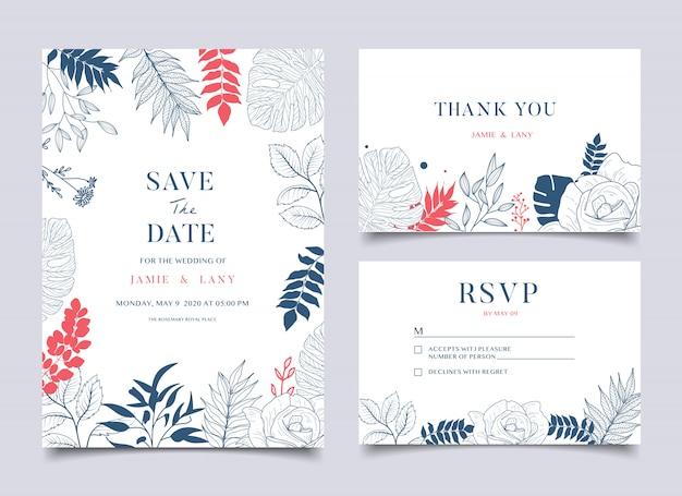 Karta ślubu kwiatowy i zaproszenie