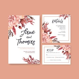 Karta ślubu z jesiennym kwiatem koncepcja szablonu i zaproszenia