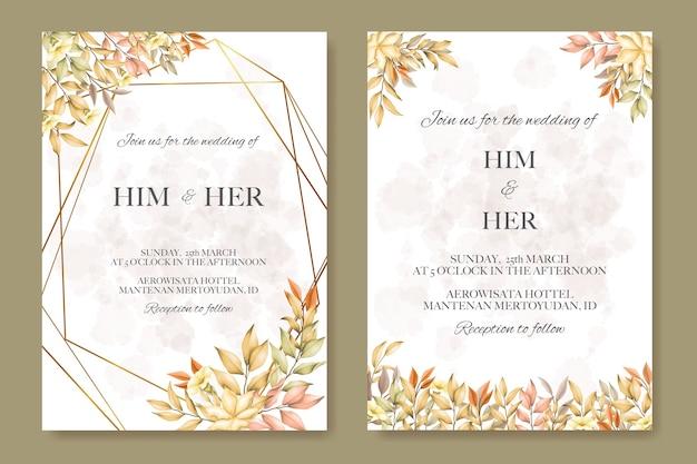 Karta ślubu z liści jesienią