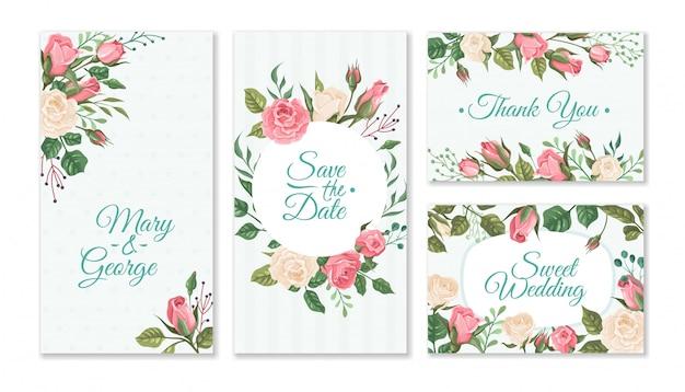 Karta ślubu z różami. wesela kwiatowy zaproszenia z czerwonych i różowych róż i zielonych liści. szablon ulotki strony