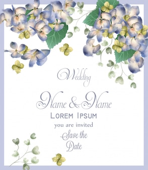 Karta ślubu z wiosny hortensja kwiaty akwarela
