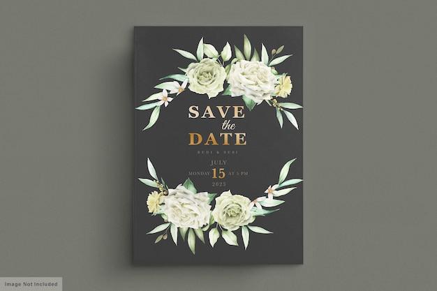 Karta ślubu z zielonym kwiatem