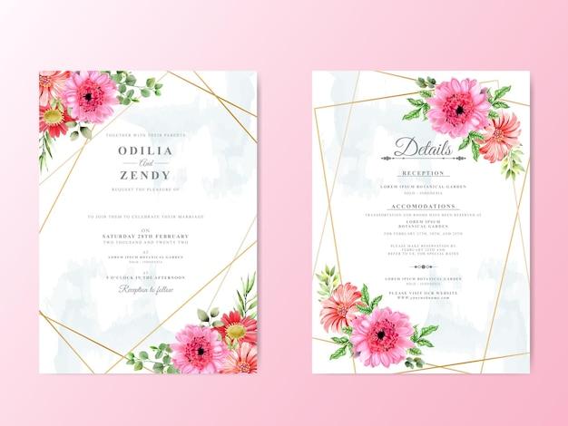 Karta ślubu zestaw zieleni kwiatowy wzór