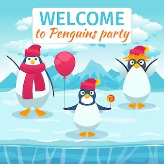 Karta śmieszne pingwiny lub zaproszenie na przyjęcie. witamy święto festiwalu, świętujemy wydarzenie, szablon transparent. ilustracji wektorowych