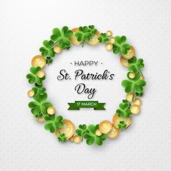 Karta st patricks day. wianek z liśćmi koniczyny i monetami.