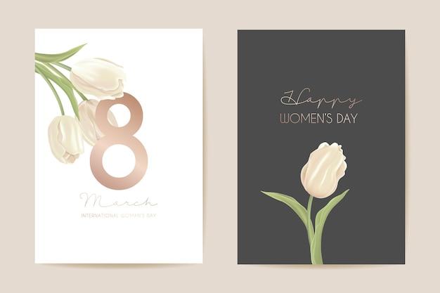Karta świąteczna dzień kobiety 8 marca. ilustracja wektorowa kwiatowy wiosna. powitanie realistyczny szablon kwiatów tulipanów, luksusowe tło kwiatowe, ulotka z międzynarodowym dniem kobiet, nowoczesny projekt strony