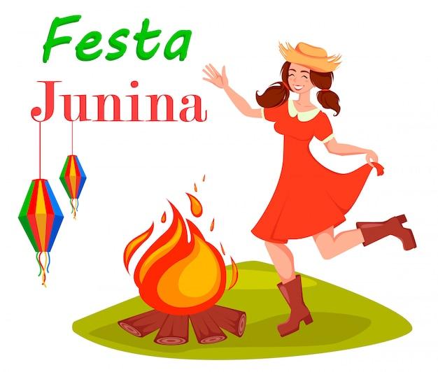 Karta świąteczna Festa Junina Premium Wektorów