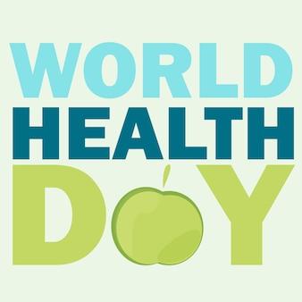 Karta światowego dnia zdrowia. ilustracja wektorowa z zielonym jabłkiem i tekstem na jasnym tle