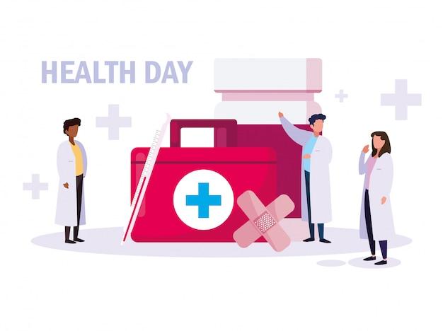 Karta światowego dnia zdrowia z grupą lekarzy i ikonami
