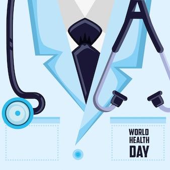 Karta światowego dnia zdrowia z koszulą lekarza