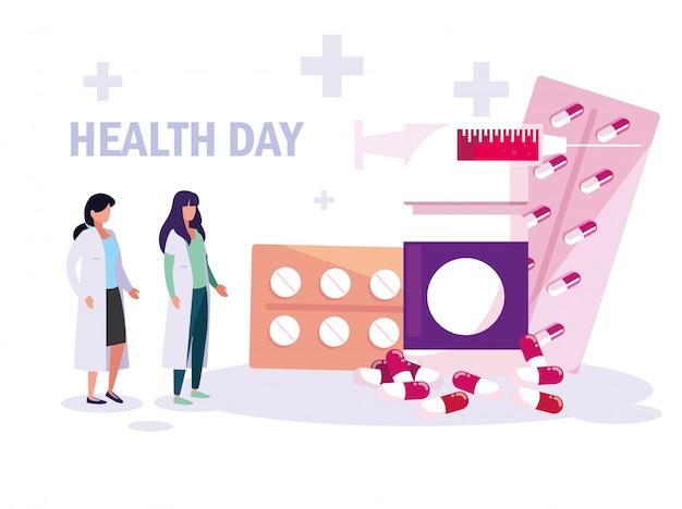 Karta światowego dnia zdrowia z lekarzami kobiet i lekami