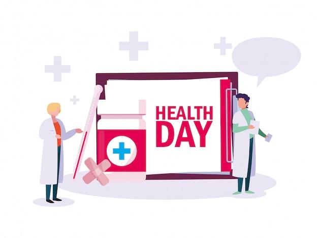 Karta światowego dnia zdrowia z lekarzami mężczyzn