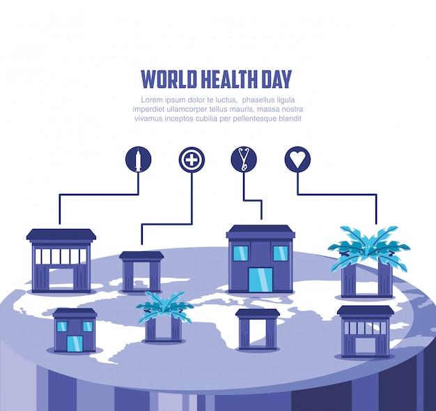 Karta światowego dnia zdrowia z mapą i domami