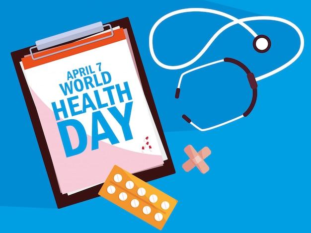 Karta światowego dnia zdrowia ze schowka i zestaw ikon