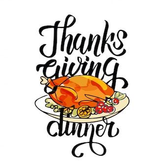 Karta święto dziękczynienia z tradycyjnym daniem