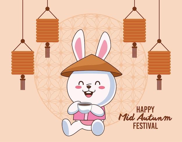 Karta świętowania połowy jesieni z królikiem pijącym herbatę i wiszącymi lampionami