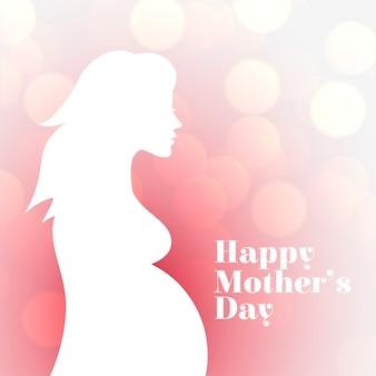 Karta sylwetka kobiety w ciąży na szczęśliwy dzień matki