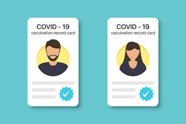 Karta szczepień przeciwko covid-19 dla kobiet i mężczyzn. certyfikat odporności covid-19 w płaskiej konstrukcji