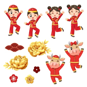 Karta szczęśliwego chińskiego nowego roku z dzieckiem w koszulce i ah muay.