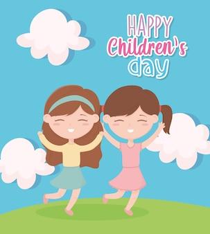 Karta szczęśliwy dzień dziecka, słodkie dziewczyny ręce w górę świętować na zewnątrz