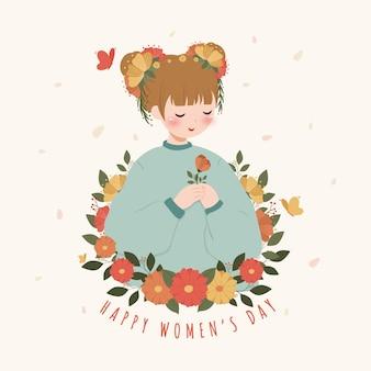 Karta szczęśliwy dzień kobiet z dziewczyną i kwiatami