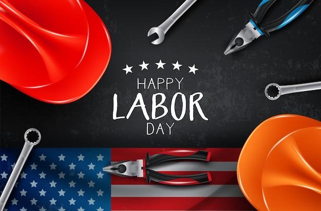 Karta szczęśliwy dzień pracy wektor. ilustracja amerykańska święto narodowe z flagą usa
