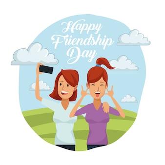 Karta szczęśliwy przyjaźń dzień z parą kobiety outdoors