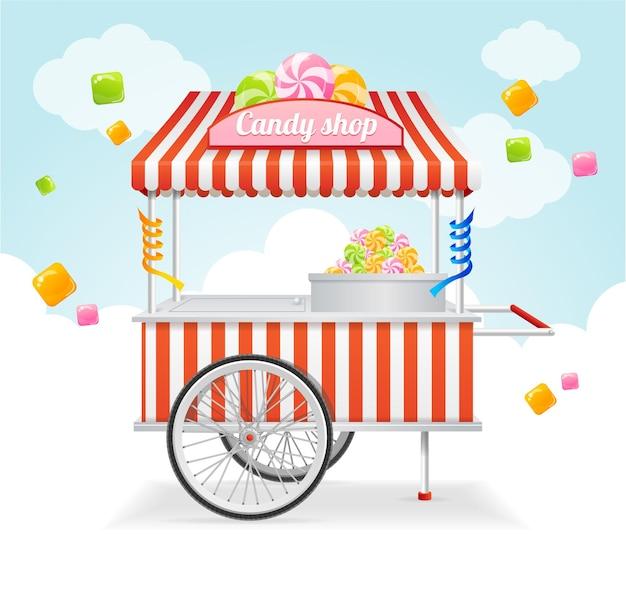 Karta targowa z wózkiem ze słodyczami. sprzedaż słodyczy i cukierków na ul.