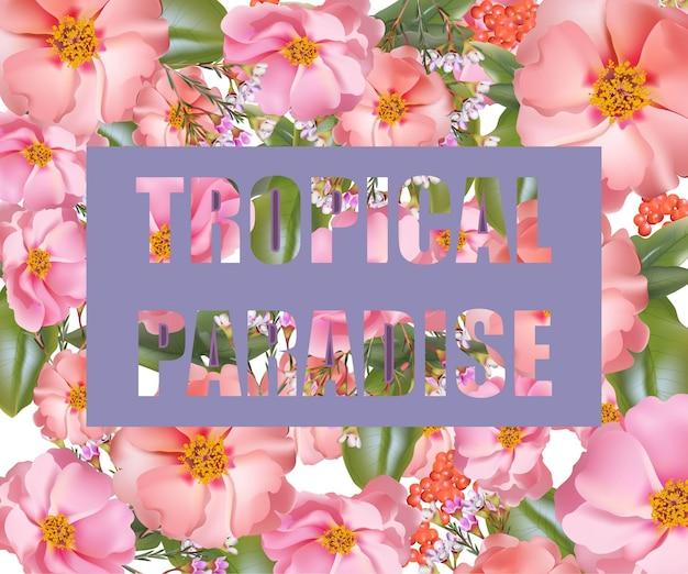 Karta tropikalnego raju. wektor egzotyczne kwiaty tło lato fuzje