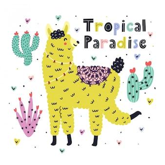 Karta tropikalnego raju z uroczą lamą. letni nadruk z zabawną alpaką w stylu skandynawskim. modne tło z lamą dla dzieci. ilustracja