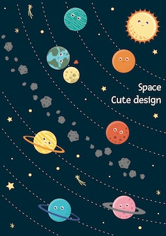 Karta układu słonecznego wektor dla dzieci. jasna i urocza płaska ilustracja uśmiechniętej ziemi, słońca, księżyca, wenus, marsa, jowisza, rtęci, saturna, neptuna