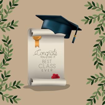 Karta ukończenia szkoły z dyplomem i kapeluszem
