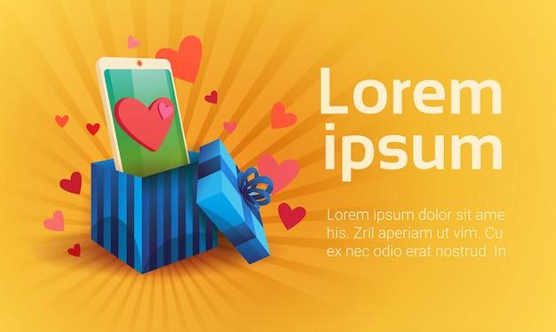 Karta upominkowa walentynki holiday love cell smart phone social network communication