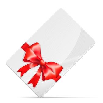 Karta upominkowa z czerwoną kokardą na białym tle