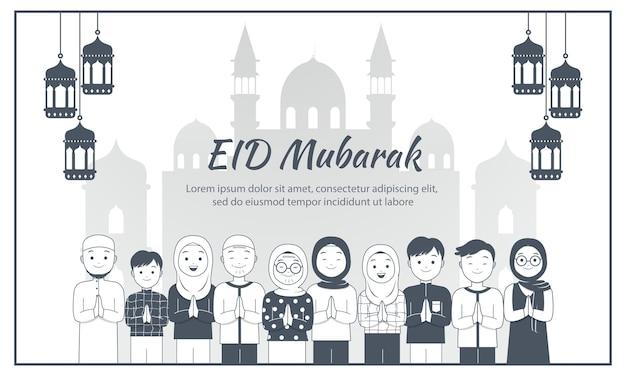 Karta uroczystości eid mubarak. bezbarwny mężczyzna i kobieta świętują islamskie święto