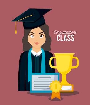 Karta uroczystości klasy graduacyjnej z absolwentką