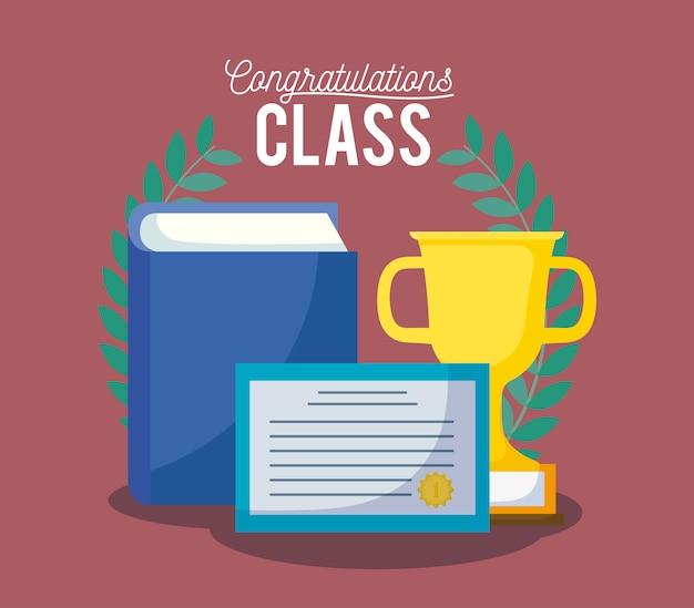 Karta uroczystości klasy graduacyjnej z dyplomem i trofeum
