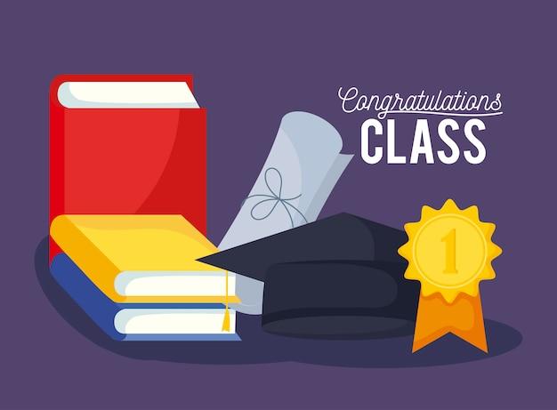Karta uroczystości klasy graduacyjnej z kapeluszem i dyplomem