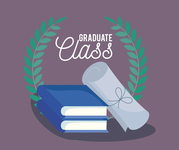 Karta uroczystości klasy graduacyjnej z książkami