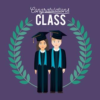 Karta uroczystości klasy graduacyjnej z para absolwentów