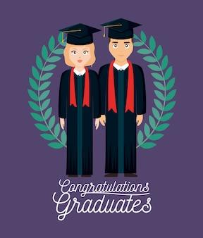 Karta uroczystości ukończenia szkoły z dyplomem para i korony