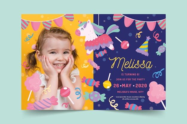 Karta urodzinowa dla dzieci ze zdjęciem